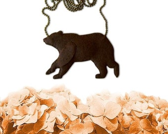 Bare Brown Bear Necklace, Bear Necklace, Animal Jewelry, Bear Jewelry, vegan jewelry, vegan necklace