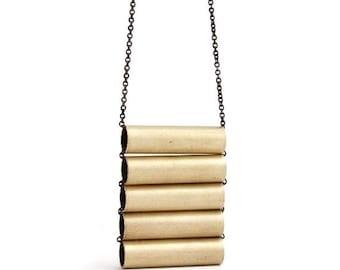 Brass Tube Necklace, Vintage Brass, Brass Ladder Necklace, Brass Jewelry, Barrel Necklace, Minimalist Modern, Geometric Jewelry