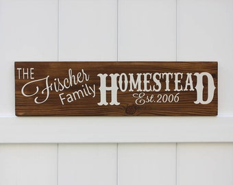 Established Homestead Sign // Your Family Name // Personalized Est. Sign // Wedding Sign //Hand-Painted Wooden Sign Wall Art