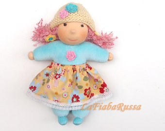 Waldorf doll in pastel colors mint, 10 inch, eco friendly gifts for kids