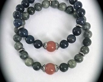 Indigo Blue Dumortierite Bracelet, Stretch Stacking Gemstone Bracelet, Serpentine Jade, Men's Boho Mala Bracelet, Yoga Bracelet