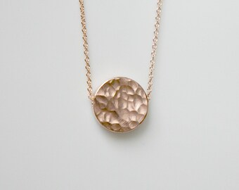 Rose gold disk necklace, hammered, thick, circle, coin, round rose gold pendant, simple necklace, gift for women, layering jewelry - Marieke