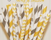 Paper Straws, 25 Yellow and Grey Paper Straws, Yellow Paper Straws, Grey Straws, Vintage Wedding, Birthday Paper Straws, Baby Shower, Bridal