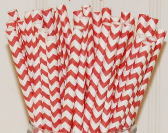 Paper Straws, Coral Chevron Striped Paper Straws, Party Straws, Paper Party Straws, 25 Coral Paper Straws, Wedding Straws, Mermaid Party