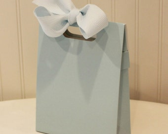 Favor Boxes, 5 Blue Paper Boxes with Handle, Party Favor Box, Gift Packaging Box, Wedding Favor Box, Candy Box, Cookie Box, Birthday Party