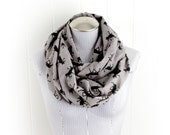 Caribou Silhouette Print Flannel Infinity Scarf in Gray and Black