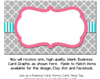 DYI Blank Business Card Template   Grey Moraccan With Pink U0026 Teal   Made To  Match