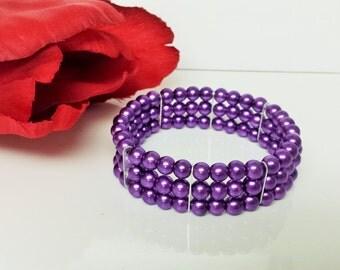 Perfect Purple Pearl Bridesmaid Bracelet - Triple Strand Pearl Bracelet - Triple Row Purple Bracelet - Prom Stretch Bracelet