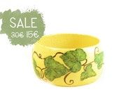 Yellow decoupage bracelet with ivy and butterfly - UNIQUE