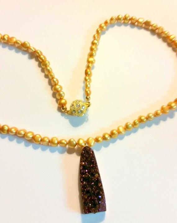 Titanium Druzy Necklace with Golden Pearls