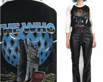 Vintage 1982 THE WHO Tshirt Concert Band Tee Baseball Sleeves Final Farewell North American Tour Black Screen Printed Graphic Unisex Top (M)
