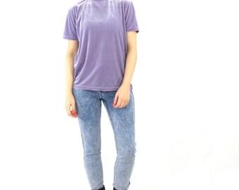 90s Velvet Turtleneck Top Lilac Purple Velvet Tshirt Minimalist Grunge Layering Short Sleeve Mock Neck Top Pastel Lavender Spring Shirt (M)