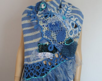 Blue Ivory Hand Knit Crochet Embrodered Shabby Chic  Shawl Cape- Textile Collage -Wearable Art - OOAK