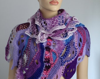 SALE 40% OFF Crochet Shawl Wrap, Pink Purple Lilac Blue  Chunky Freeform Crochet  Scarf Shawl ,Textured shawl / Wearable Art  Bohemian Scarf