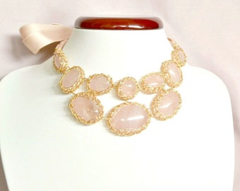 Bridal statement necklace - rose quartz, crochet necklace, luxe jewelry, high fashion, fashion for women