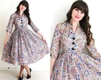1950s Dress / 50s Dress / 50s Folk Print Full Skirt Dress