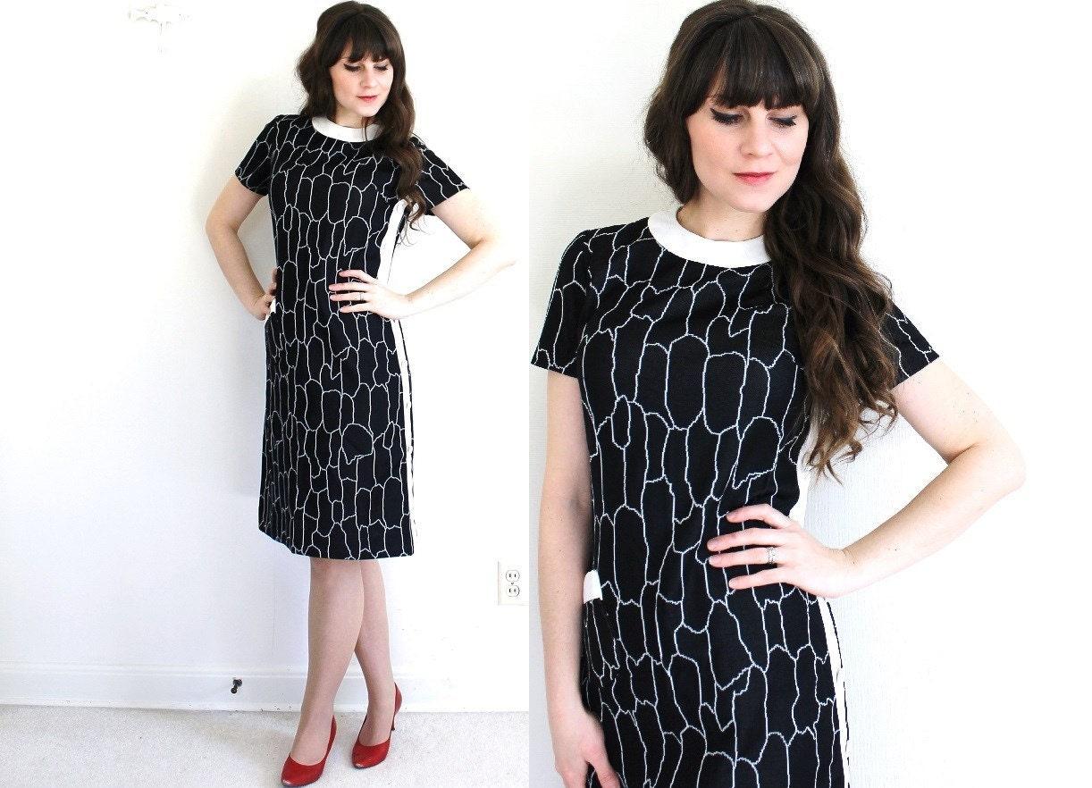 1960s mod dress 60s dress black and white mod by coldfish