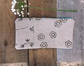 SALE! hand printed pouch. linen purse. original hand carved block print textile.