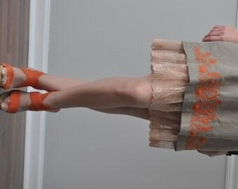Beige Pleated Lace Ruffle Trimmed Slip, Slip Extender -  XS S M L XL XXL