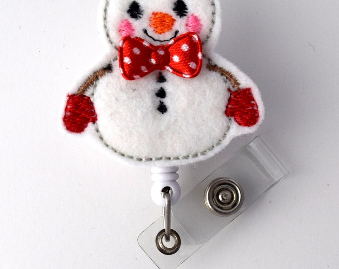 Snowman with Red Bow Tie - Retractable ID Felt Badge Holder - Holiday Badge Reel - Nurses Badge Holder - Nurse Badge - Teacher Badge