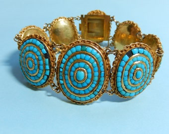 French Victorian Era Bracelet with Persian Turquoise and 18K Gold Setting with Matching Brooch
