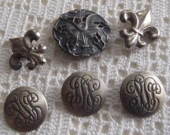 Vintage Buttons Fleur de Lis, Flower, and Monogrammed  6 Pc.