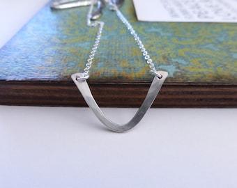 Silver V Bar Necklace, Chevron Necklace, Hammered Silver V Necklace, Modern Necklace, Chevron V Necklace in Silver