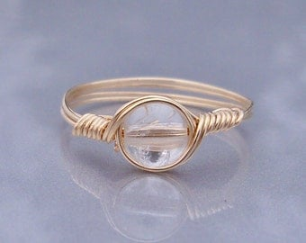 Crystal Quartz 14k Yellow Gold Filled Wire Wrapped Stone Ring