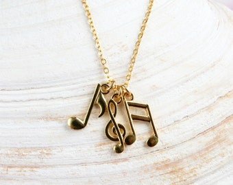 Gold Plated Music Notes Necklace