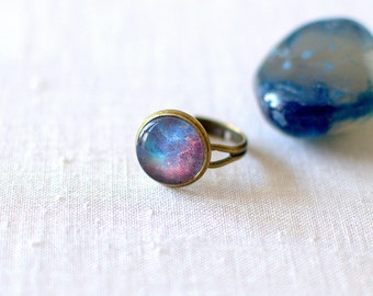 Blue and Red Galaxy Ring. Space Ring. Glass Dome Ring. Adjustable Ring. Universe Jewelry. Galaxy Jewelry.