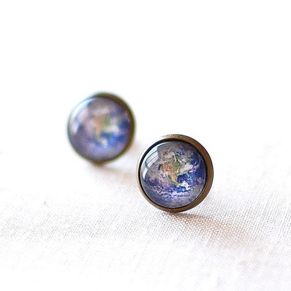 Planet Earth Earrings. World Earrings. Solar System Earrings. Space Earrings. Universe Earrings. Earth Stud Earrings. World Post Earrings.