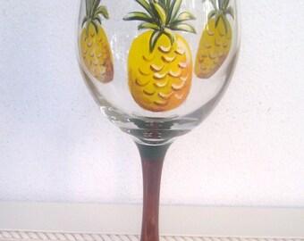 Pineapple Wine Glass Hand Painted (Custom Order) Wine Cocktail Bar