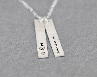 The Date Necklace ,Anniversary Two Sterling Silver Bars, Personalized Engagement Gift Jewelry, Wedding DateValentines Day Gift for Her