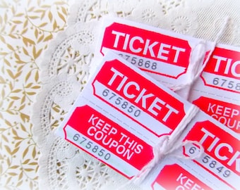 Red & White Raffle Tickets / Daily Planner / 18 Tickets / Junk Journal / Carnival