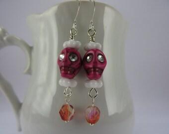 Pink Skull Earrings Glowing Crystal Eyes White Boho Free Shipping