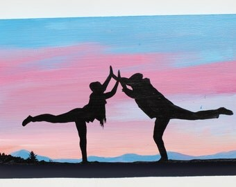 Original Painting, Partner Yoga Sunset, Friend Connection, Landscape Painting, Figures Stretching in Silhouette