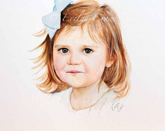 Custom Portraits from Your Photos - Child Portrait - HEAD - Original Watercolor Painting 12x12 or 12x16 inches