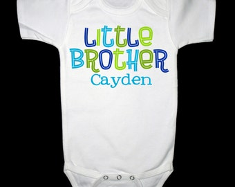 Personalized Little Brother Simple Groovy Design in Blues and Lime Greens - Personalized with ANY Name!
