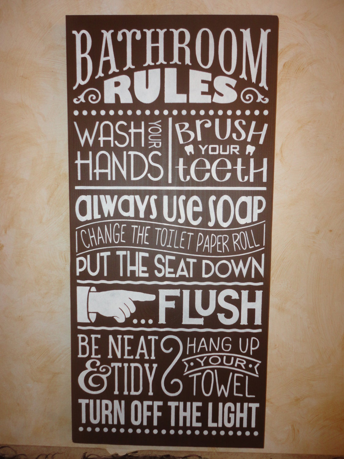 brown bathroom sign home decor bathroom rules by dawnspainting