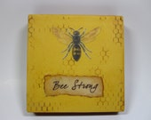 Honeybee Painting Encaustic Beeswax Cottage Inspirational Bee Hive