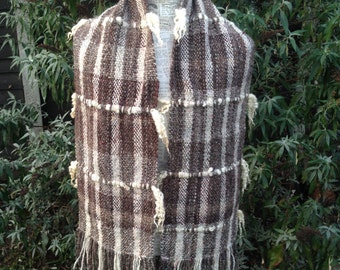 Country Classic Hand Woven Scarf  With HandSpun Warp and Weft.