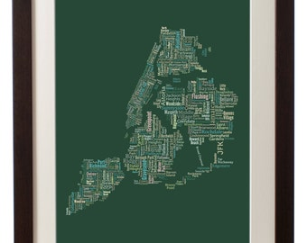 """New York City Framed Type Map Art Print - 16"""" x 20"""" // Additional Sizes Available"""