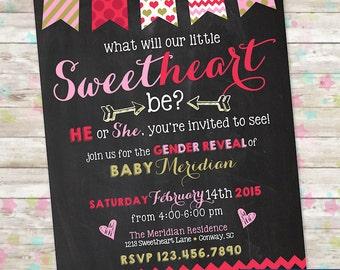 Valentine Gender Reveal Invite, February Baby Shower Idea, February Gender Reveal, Valentine Bunting, Printable Invitation, Sweetheart
