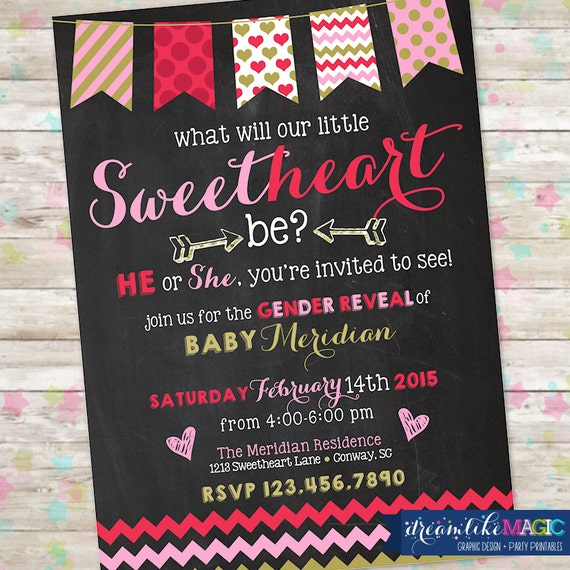 Items Similar To Valentine Gender Reveal Invite February