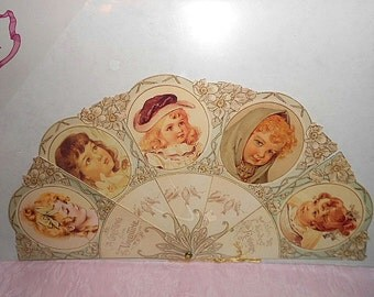 VICTORIAN PAPER FAN Die Cut Card Tassel Girl Lady Art Valentine Bird Flower Floral Diecut Greeting Ephemera Scrapbook Scrap Book Folding Nos