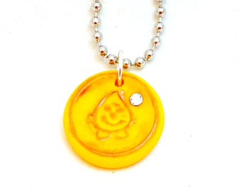 Faux Wax Seal Parker Polymer Clay Necklace on Ball Chain
