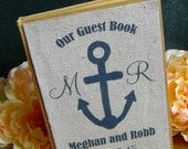 Anchor Guest Book Nautical Beach Navy Canvas Kraft Guestbook Personalized Initial Name Anchor Date Wedding Guest Book
