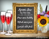 Mimosa Bar Sign Chalkboard Printable 8x10 PDF Instant Download Pop Fizz Clink Pour Some Bubbly Splash Some JuiceRustic Shabby Chic Woodland