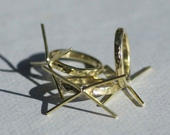 Brass Hammered Claw Ring Handmade Setting 100% Brass For Natural Stones or Whatever - Size 6