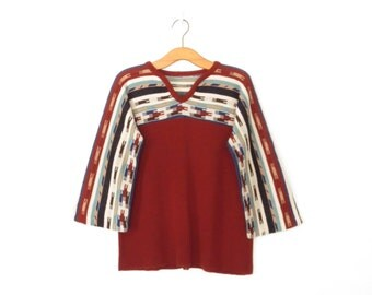 Vintage 70s Knit Shirt * Southwestern Sweater * 1970s Bell Sleeve Pullover * Large